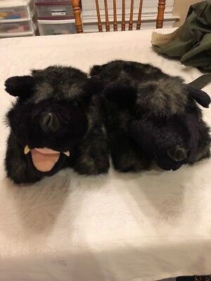 Wolf SLIPPERS BY ANI-MATE, MEDIUM 7-9 Cute!  Looks REAL!