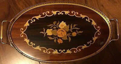 Vintage Antique Lacquered Wood and Gold Brass Oval Serving Tray - GORGEOUS!