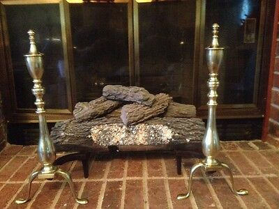 Antique Chippendale Solid Brass & Cast Iron Fireplace Andirons Vtg