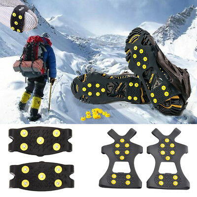 10 Stud Anti Slip Snow Ice Climbing Spikes Grips Crampon Cleat Shoes Cover SF