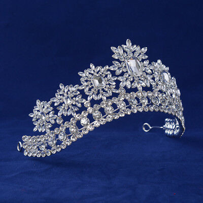 6.5cm High Luxury Full Clear Crystal Bridal Party Pageant Prom Tiara Crown