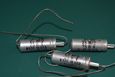 Cornell Dubilier 25 uF 25 Vdc Audio Filter Electrolytic NOS Capacitors Tested 3