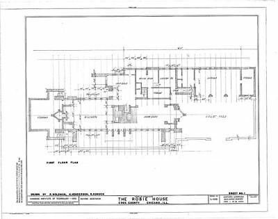 Frank Lloyd Wright's Prairie Style Robie House architectural plans reduced set
