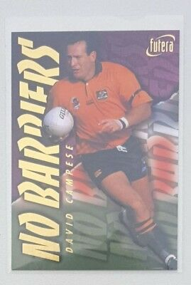 1996 Futera Rugby Union No Barriers insert card #NB2 David Campese