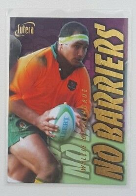 1996 Futera Rugby Union No Barriers insert card #NB5 Willie Ofahengaue