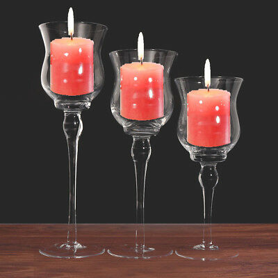 3Pcs/set Elegant Clear Glass Candle Holders Stand Wine Cup Wedding Table Decor
