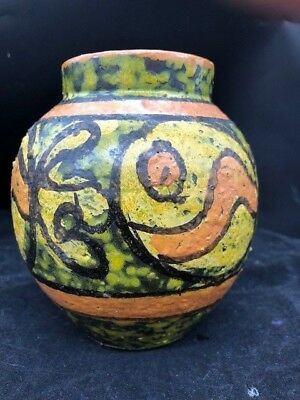Italy Mid Century Art Pottery Vase With Great Hand Painted Fish Design