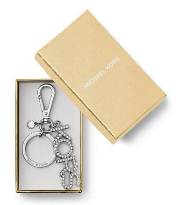 Michael Kors Pave Silvertone Logo Key Chain Brand New with Tags and MK Gift Box
