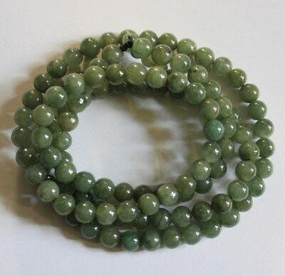 100% Natural JADE (Grade A) Beautiful Untreated Oily Green Jadeite Necklace 29""