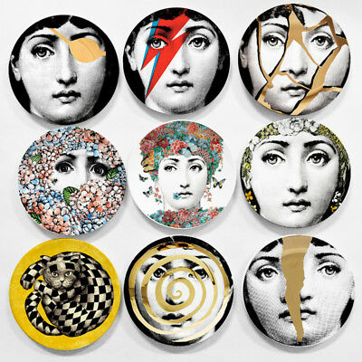 "Italy Designer Piero Fornasetti Hanging Wall 8"" Plates Home Hotel Office Decorat"