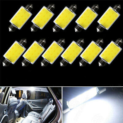 10pcs 6500K 42MM Festoon White COB LED Map Dome Interior Lights Bulbs 578 211-2