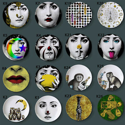 "Coloful Milan Piero Fornasetti Hanging Plates Home Hotel Sample Decor 8"" Dishes"
