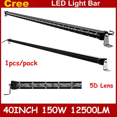 Slim 40inch 150W Single Row LED Light Bar 5D+ Optical Driving Lamp Boat Ford 4WD