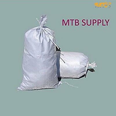"100 pcs Sand bags 18""x30"" Empty White Woven Polypropylene w/ Ties UV Protection"
