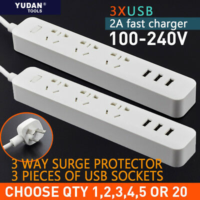 Power Board 3 Way Outlets Socket 3 Usb Charging Charger Ports w/Surge Protector