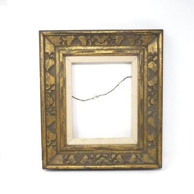"Vintage Mid Century Wide Picture Frame Hand Carved Wood Gold Ornate for 8"" X10"""