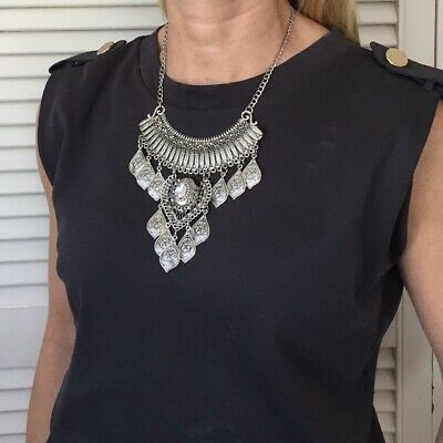 Boho Antique Silver Statement Necklace With Tassels