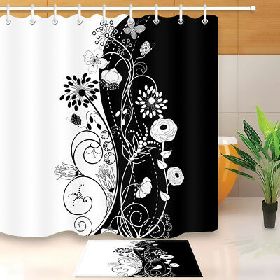 White Black Flowers Butterfly Waterproof Fabric Bathroom Shower Curtain Set