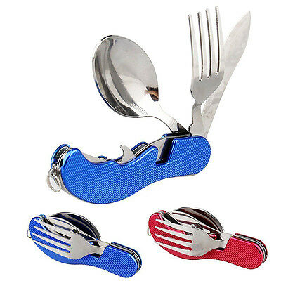 3in1 Outdoor Camping Hiking Stainless Steel Folding Knife Fork Spoon Cutlery Set
