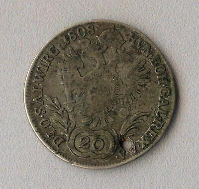 Vintage old Austria Hungary Empire 20 Kreuzer 1808 FRANC A SILVER coin