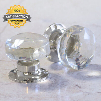 Pair of Crystal Cut Faceted Clear Glass Door Knobs. Large glass turning...