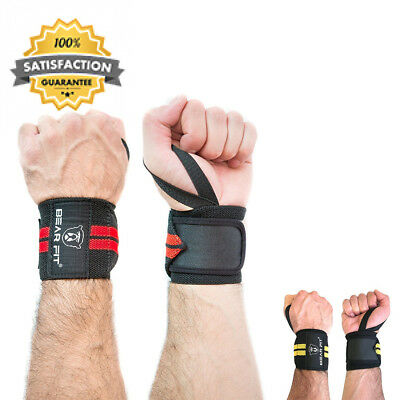Pair Of Weight Lifting Wrist Support Wraps, One Size Fits All