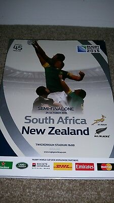 Rugby world cup 2015 programme Semi Final 1. South Africa New Zealand All Blacks
