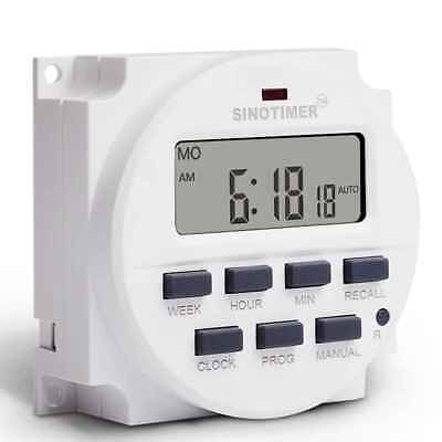 Digital LCD DIN Programmable Weekly Rail Timer AC 220V 16A Time Relay Switch