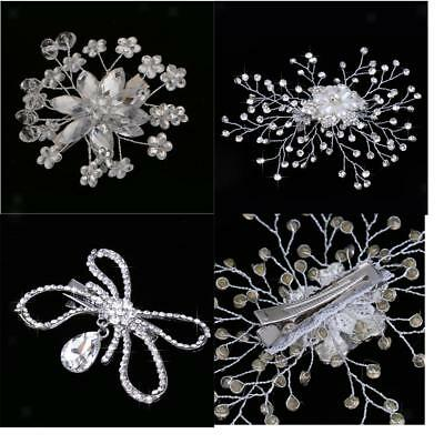 Crystal Hairpin Bridal Pearl Hair Comb with Rhinestone Flower Wedding Prom