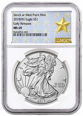 2018-(W) Silver Eagle Struck West Point NGC MS69 ER Gold Star SKU51298