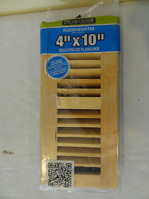 Decor Grates WML410-N 4-in.x10-in.Louvered Solid  Maple Natural Floor Register,w