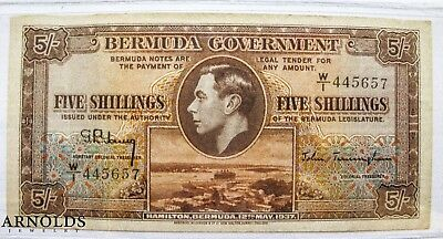 Bermuda Government 5 Shillings 1937 CRISPY XF
