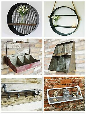 Hanging Pigeon Hole Cabinet Storage Cube Unit Wall Mounted Metal Wood Aged Look