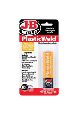 NEW!! JB Weld PLASTICWELD EPOXY PUTTY Rigid & Semi-flexible Plastic Pipes 8237