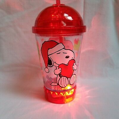 Peanuts Snoopy Woodstock Christmas Flashing Lights Dome Top Cup Tumbler Straw