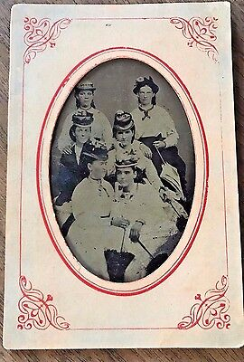 Antique Tin Type 6 Beautiful Girls with Large Victorian Hats & Parasol Photo