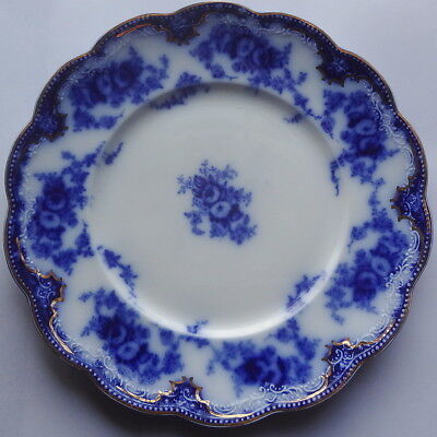 """HTF GRINDLEY FLOW BLUE - FLORIDA - 8 7/8"""" LUNCHEON PLATE gold LIGHT USE!(1 OF 5)"""