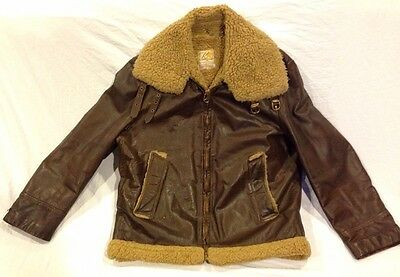 Vintage 40s 50s Kurland Leather WW2 style Bomber jacket Size M/L Sherpa