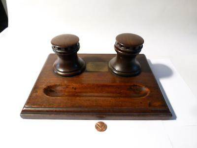 19thC Teak Capstan Desk Inkwell from TIMBER off HMS BRITANNIA Cadet Ship #2