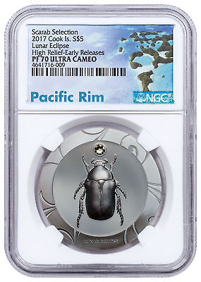 2017 Cook Is Scarab Beetle Lunar Eclipse HR Silver $5 NGC PF70 UC SKU51674