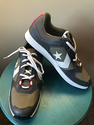 1f3675bf34934e NEW Converse Olive Green Leather Red Strip Heel All Star Shoes Men Sz 12 Eu  46.5