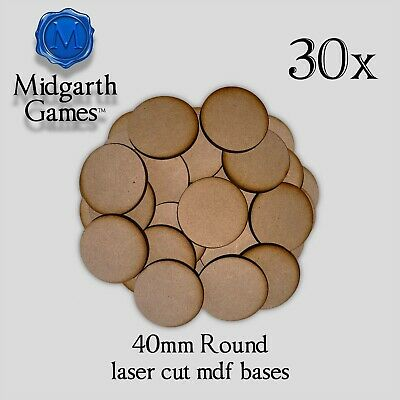 20 Round 40mm MDF Miniature Bases 3mm Laser-cut Warhammer FREE SHIPPING
