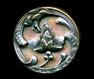 Beautiful Antique Art Nouveau Floral Button…Iridescent Pearl Background