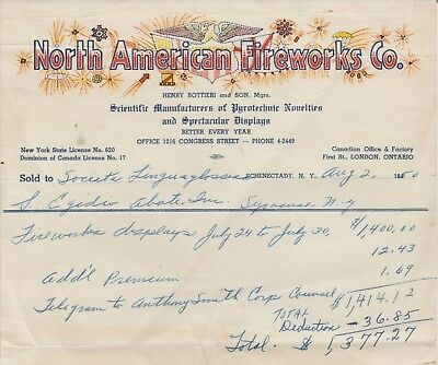 1950 North American Fireworks Co Schenectady, Ny Invoice