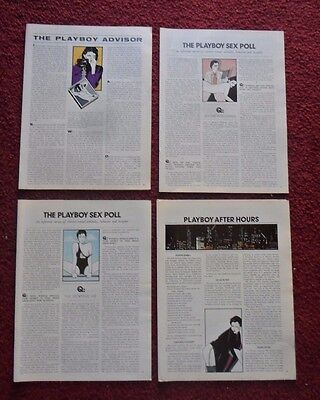 Huge Lot #5 of 50 Different Playboy Magazine Pages with Patrick Nagel Pin-Up ART