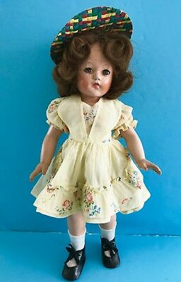 """Vintage 1940's 18"""" Effanbee Composition Anne Shirley Doll in vintage Clothes"""