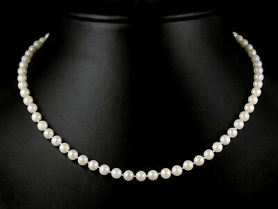 """VTG 14k Yellow Gold Individually Knotted 5.4mm White Cultured Pearl Necklace 17"""""""
