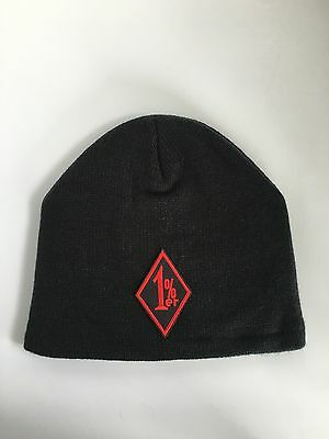 1%er Fleece Lined Beanie Cap Hat Black Motorcycle Outlaw Biker
