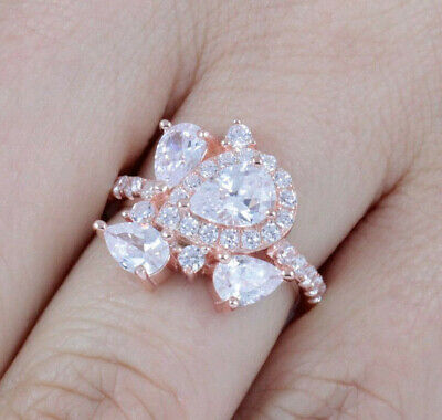 2f626b85e64807 Rose Gold Over .925 Sterling Silver Cluster Cz Cocktail Ring Band Size 3-14