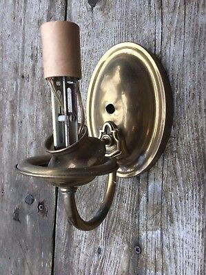 Antique Vintage Brass Oval Single Candle Wall Sconce